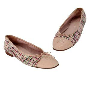 Chanel Pink Tweed and Leather Cap Toe Ballet Flats